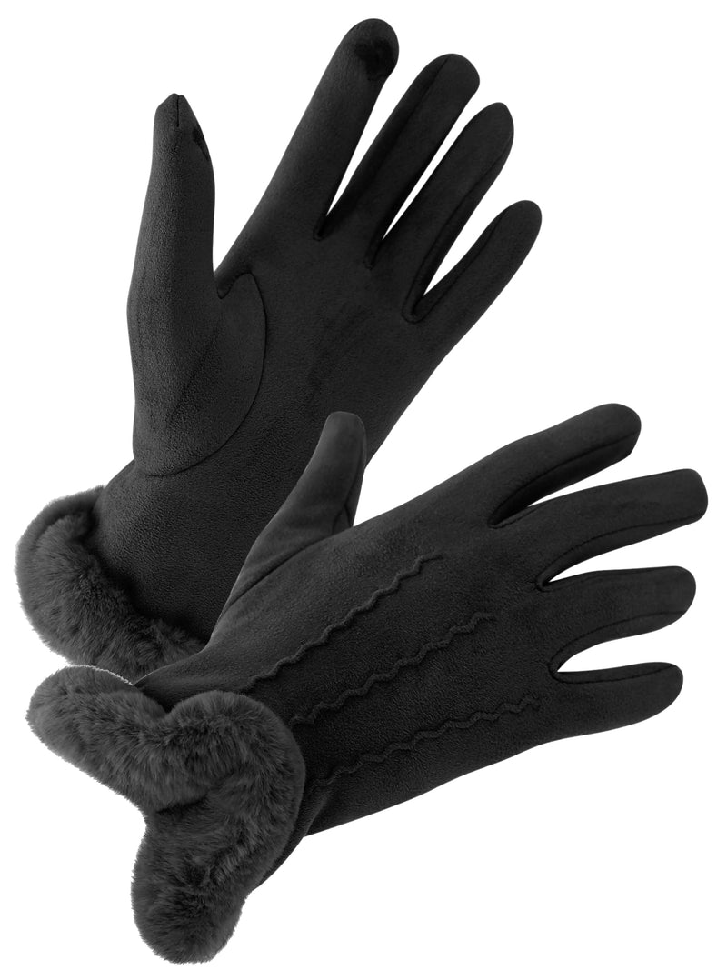 Black Faux Fur Shearling Texting Gloves