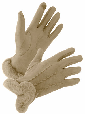 Taupe Faux Fur Shearling Texting Gloves