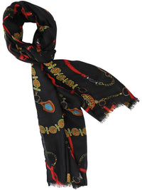 Black Chains & Belts Shawl Scarf