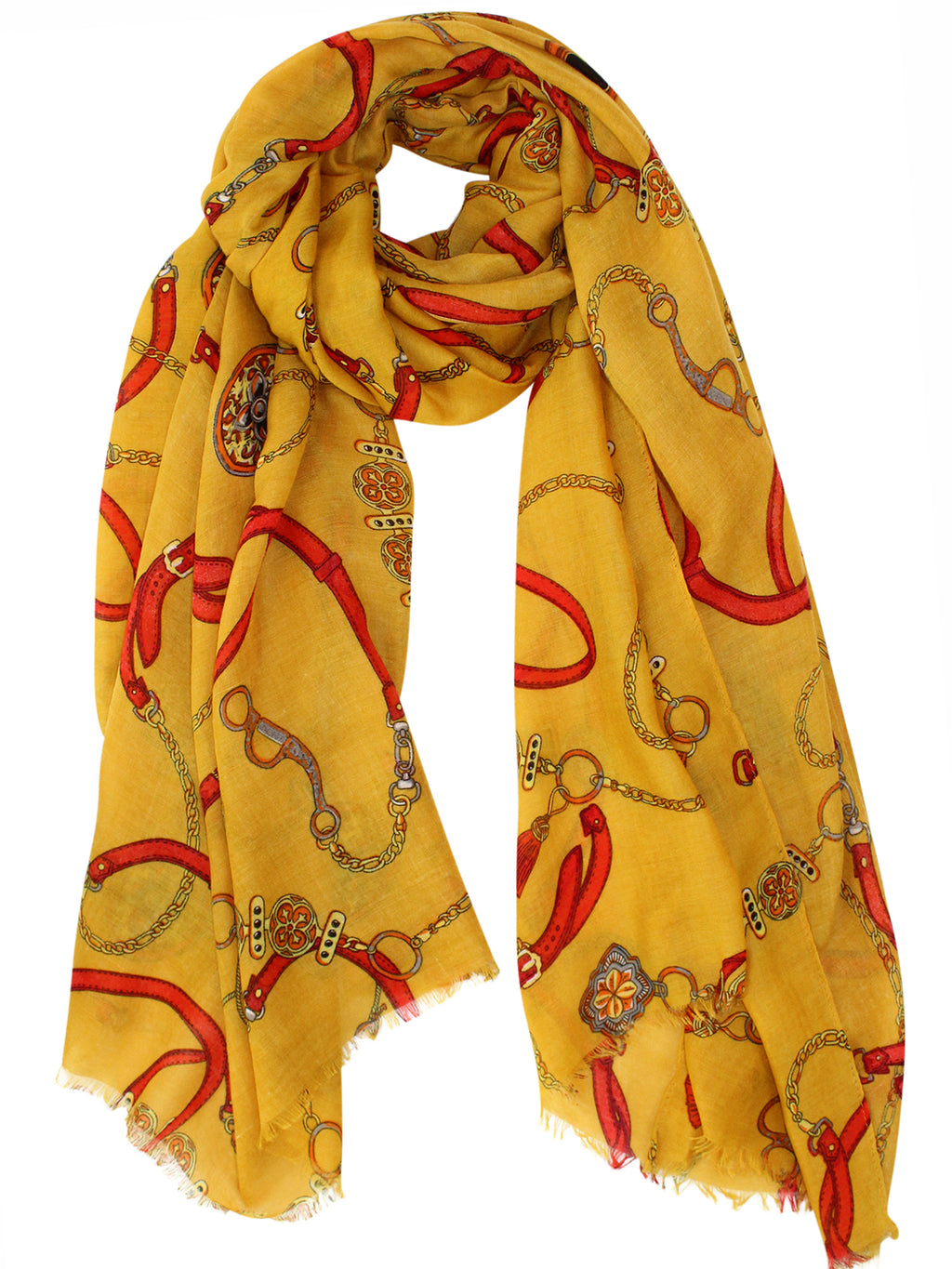 Yellow Chains & Belts Shawl Scarf