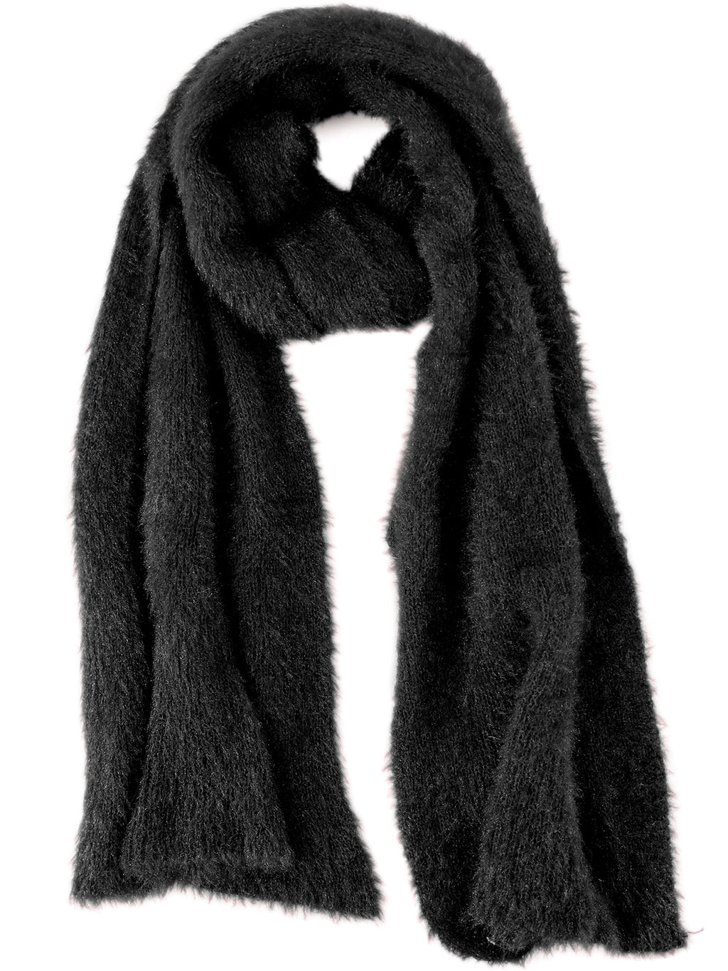 Ladies Luxury Feather Soft Scarf and Gloves Set One Size Black