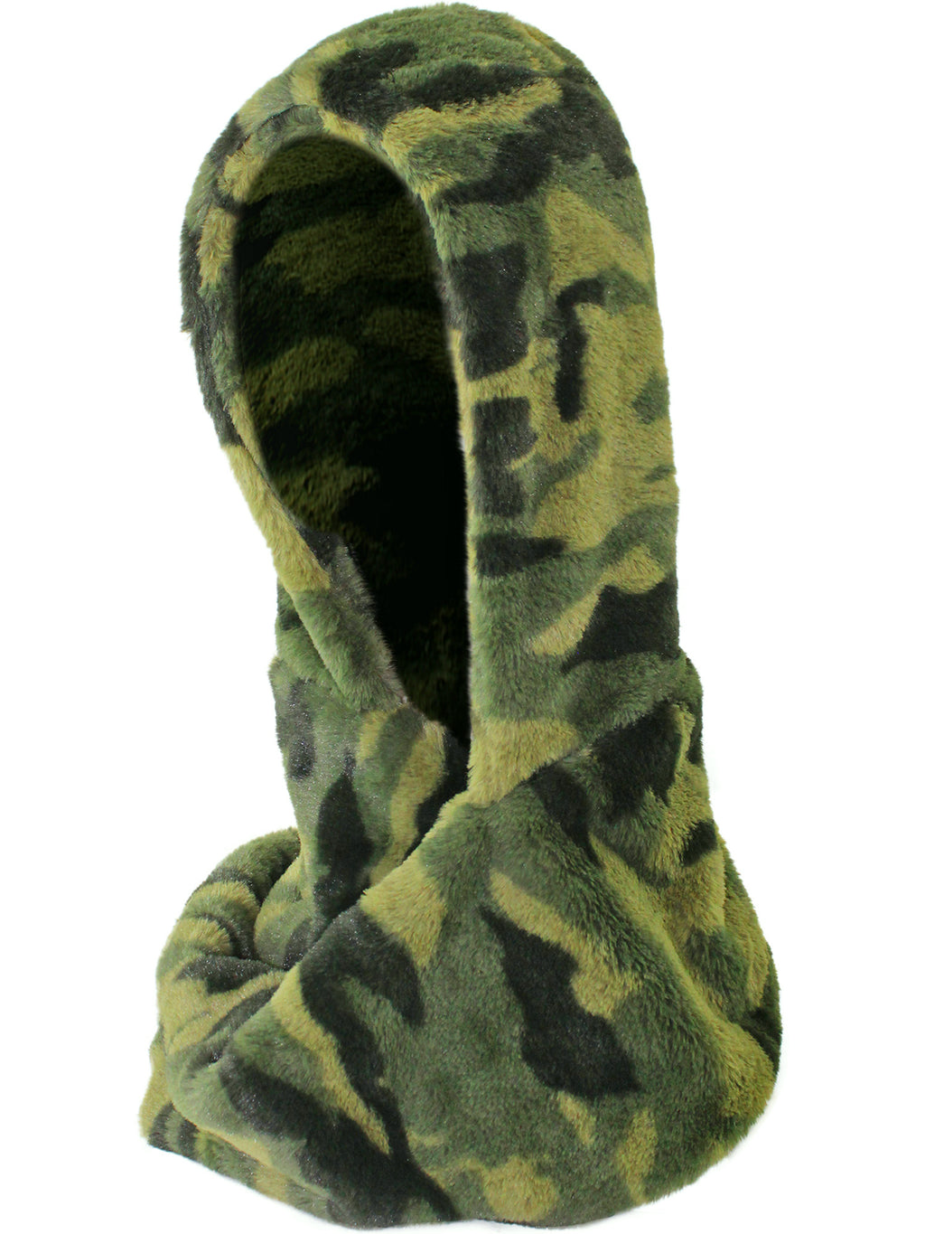 Green Camouflage Faux Fur Hooded Scarf