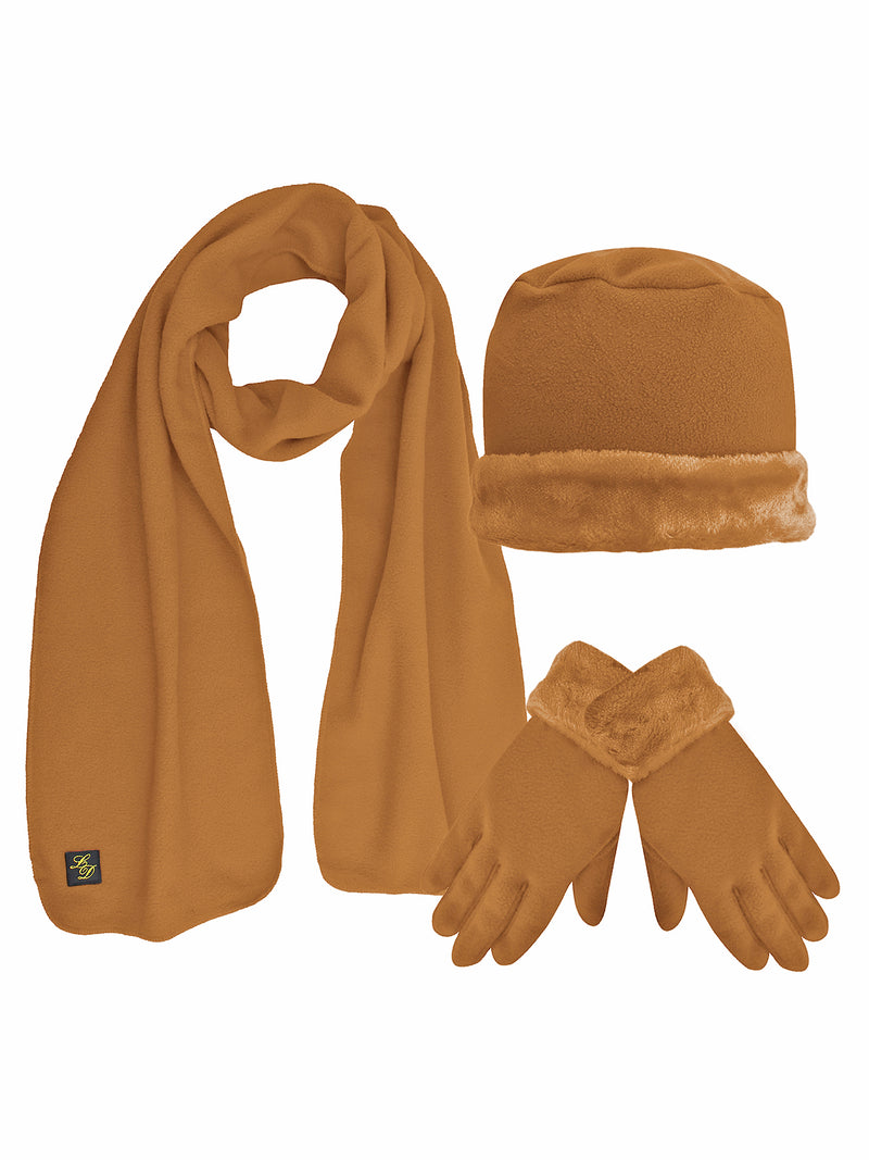 Taupe Plush Fur Trim Fleece Hat Scarf & Glove Set