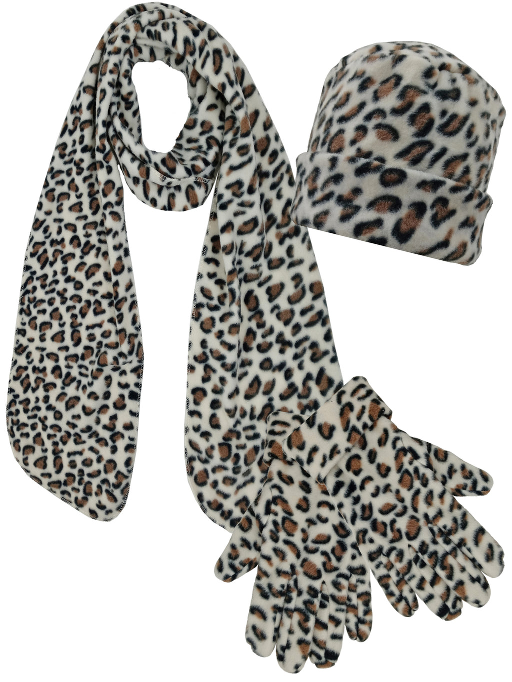 Cheetah Print Fleece 3 Piece Hat Scarf & Gloves Matching Set