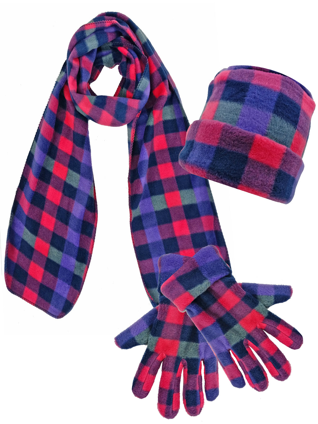 Pink Plaid Fleece 3 Piece Hat Scarf & Gloves Matching Set
