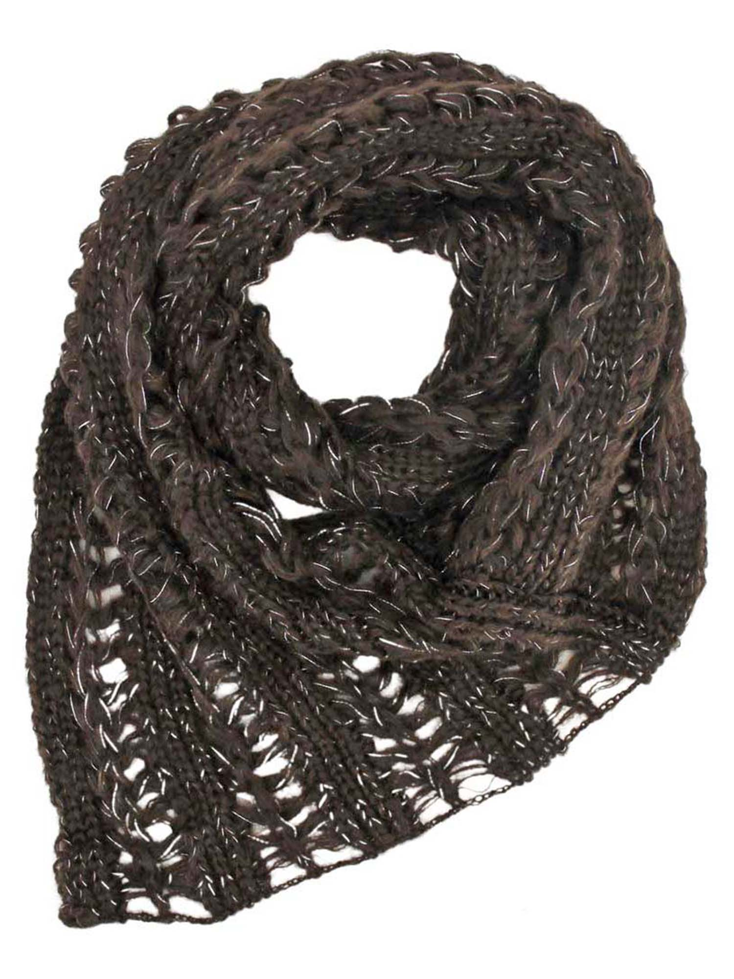 Brown Metallic Knit Triangle Infinity Scarf