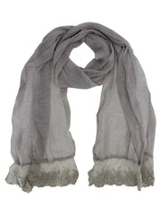 Sheer Lace Scarf Wrap With Lace Trim