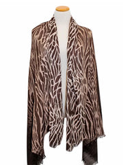Brown Zebra Animal Print Lightweight Scarf