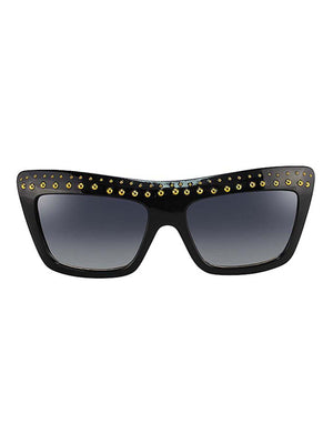 Rectangular Gold Studded Sunglasses With Hard Case