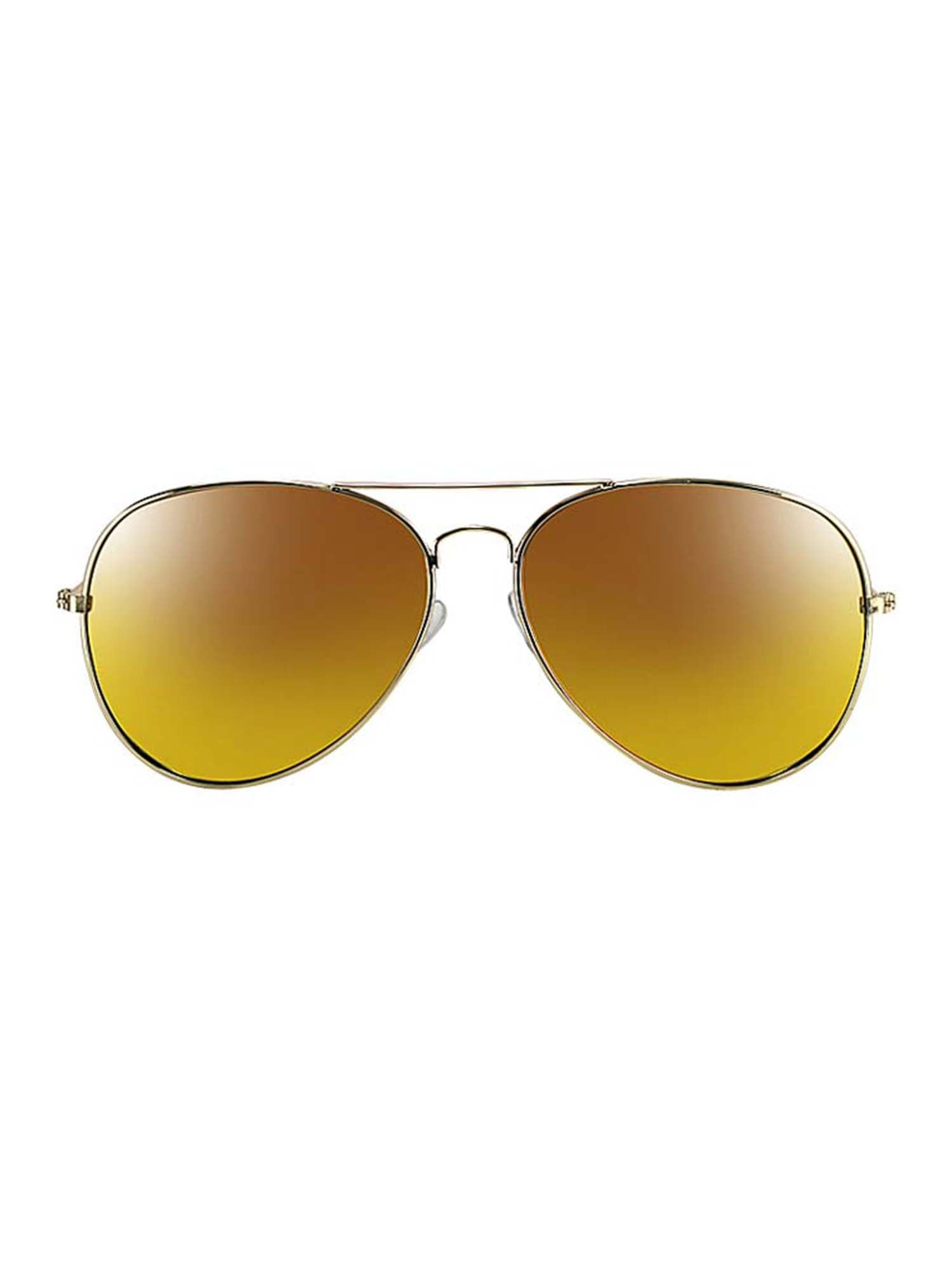 Gold Frame Yellow Mirror Lens Aviator Sunglasses With Case