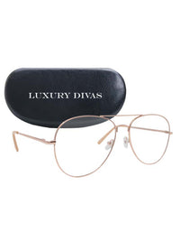 Gold & Clear Color Aviator Style Sunglasses With Case