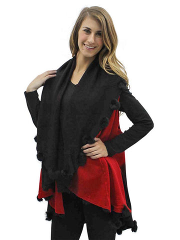 Red & Black Two-Tone Versatile Shawl Wrap