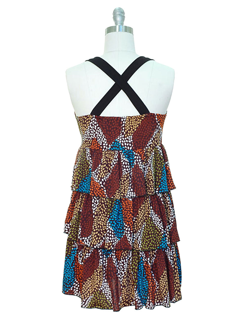 Colorful X-Back Multi Layered Ruffle Sundress