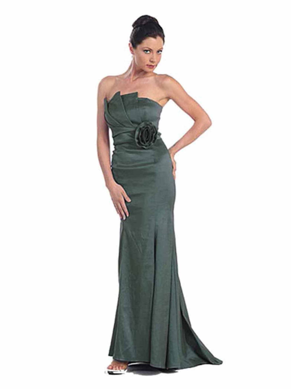 Strapless Long Taffeta Gown With Rosette