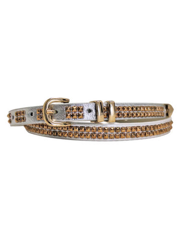 Double Row Gold Studded Skinny Belt