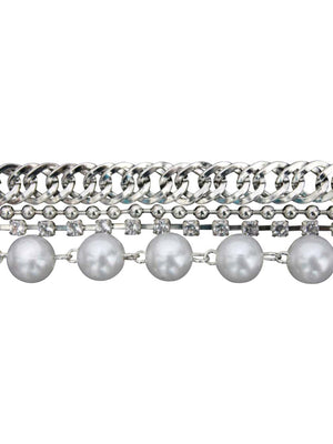 Body Jewelry 4 Strand Rhinestone Pearls Chain Belt