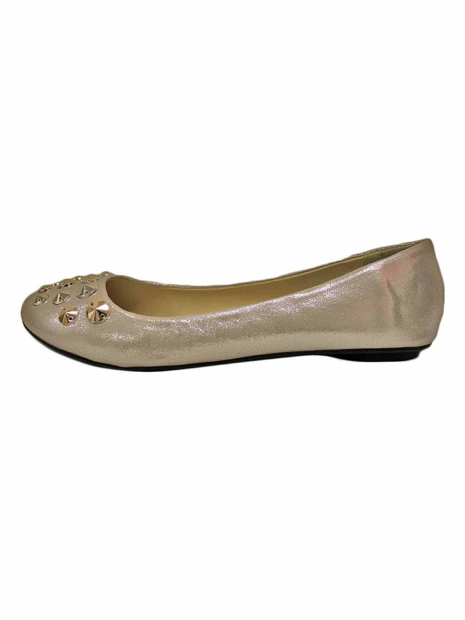 Suede Style Ballet Flats With Silver Studded Toe