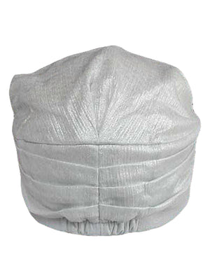 White Metallic Pleated Soft Newsboy Cap Hat