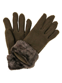 Brown Faux Fur Trim Fleece 3 Piece Hat Scarf & Glove Set