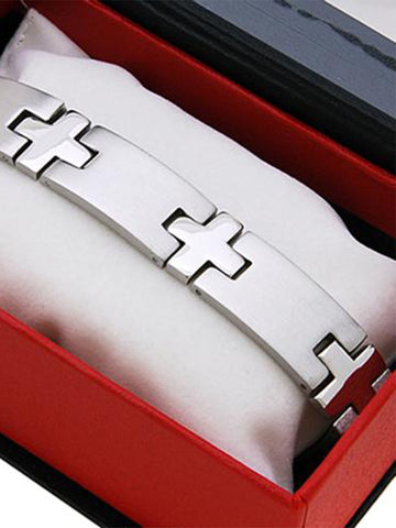 Stainless Steel Men's Boxed Bracelet Cross Link
