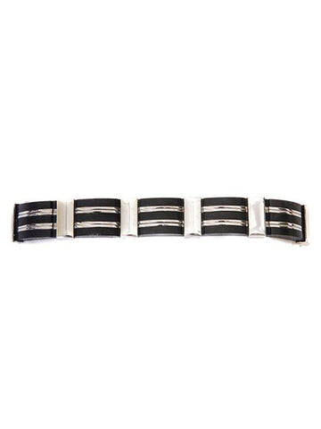Stainless Steel & Black Men's Row Link Bracelet
