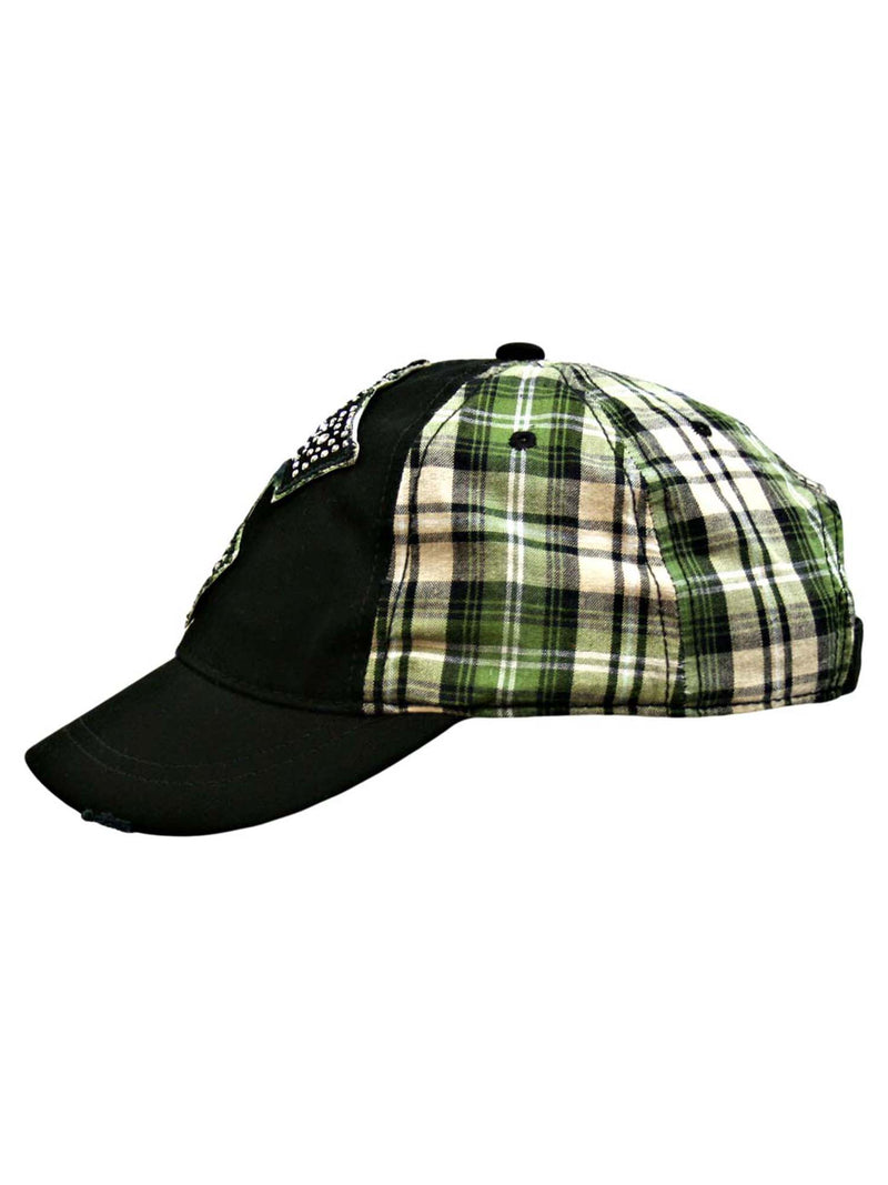 Plaid Baseball Cap With Silver Stud Cross