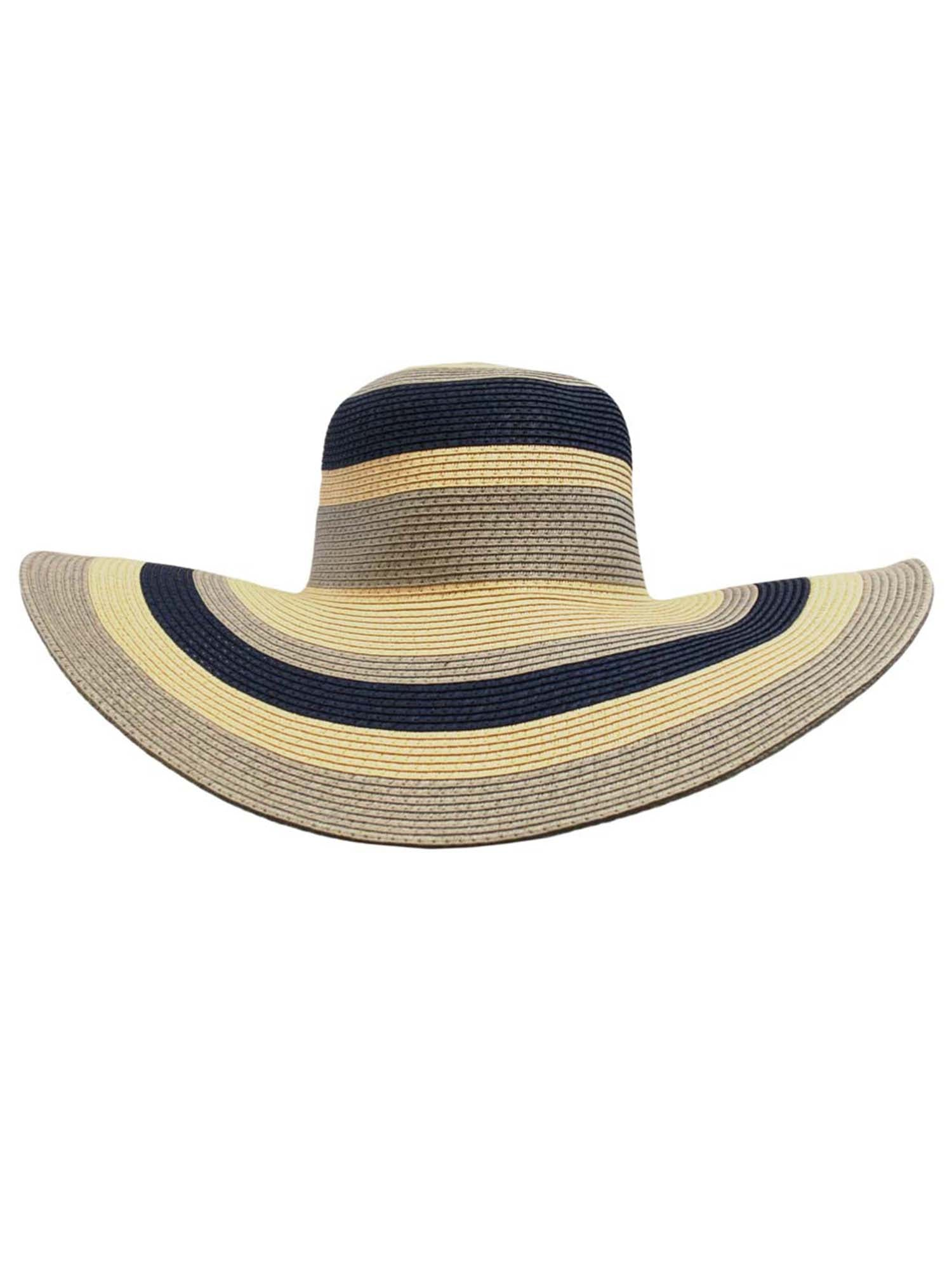 Navy Gray Wide Brim Floppy Hat With Stripes