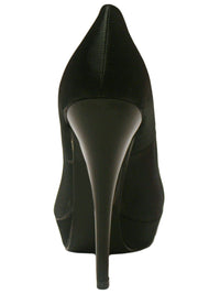 Black Satin Platform Womens High Heel Pumps