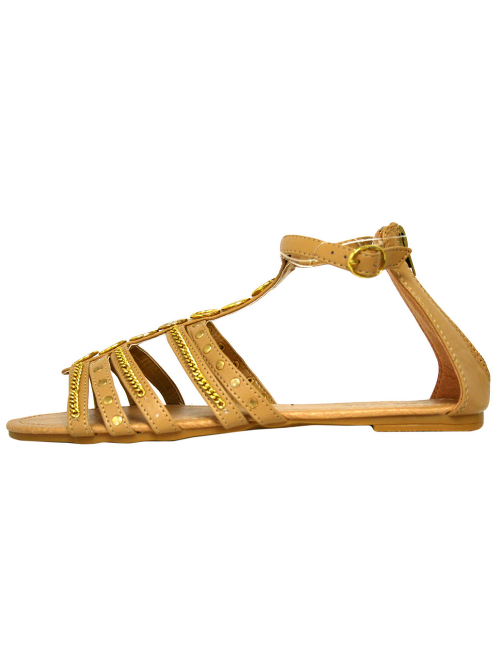 Tan Studded Strappy Womens Sandals With Chain Trim
