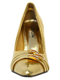 Gold Womens Pumps With Rhinestone Trim