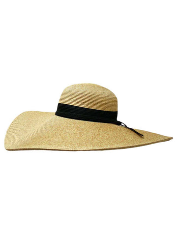 ... Natural Wide Brim Floppy Hat With Black Ribbon Hat Band ... f0d8f24b4d6