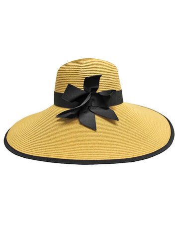 Tan Wide Brim Floppy Hat With Bow