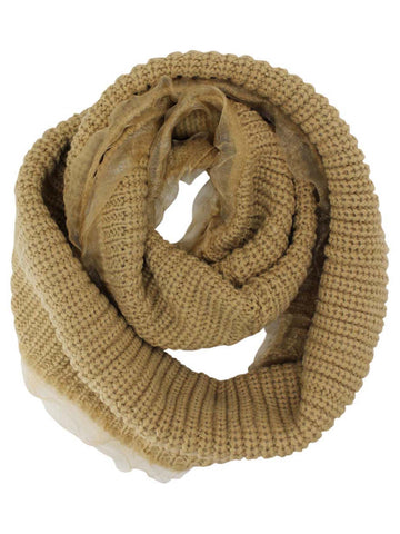 Ribbed Knit Circle Infinity Scarf With Chiffon