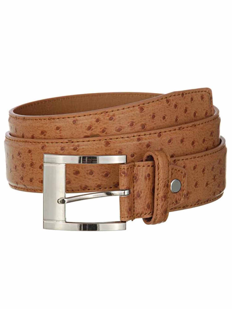 Men's Ostrich Leather Belt With Chrome Buckle