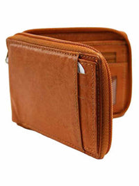 Leather Mens Zipper Wallet With Photo Coin & Cc Slots