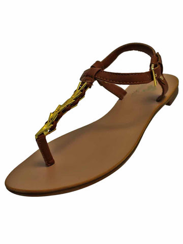 Womens Thong Sandal With Gold Braid Strap