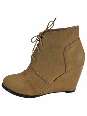 Lace-Up Wedge Heel Ankle Booties For Women
