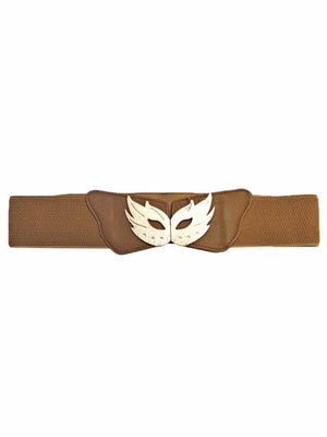 Elastic Belt With Gold Masquerade Mask Buckle