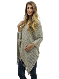 Two-Tone Fuzzy Knit Poncho With Fringe