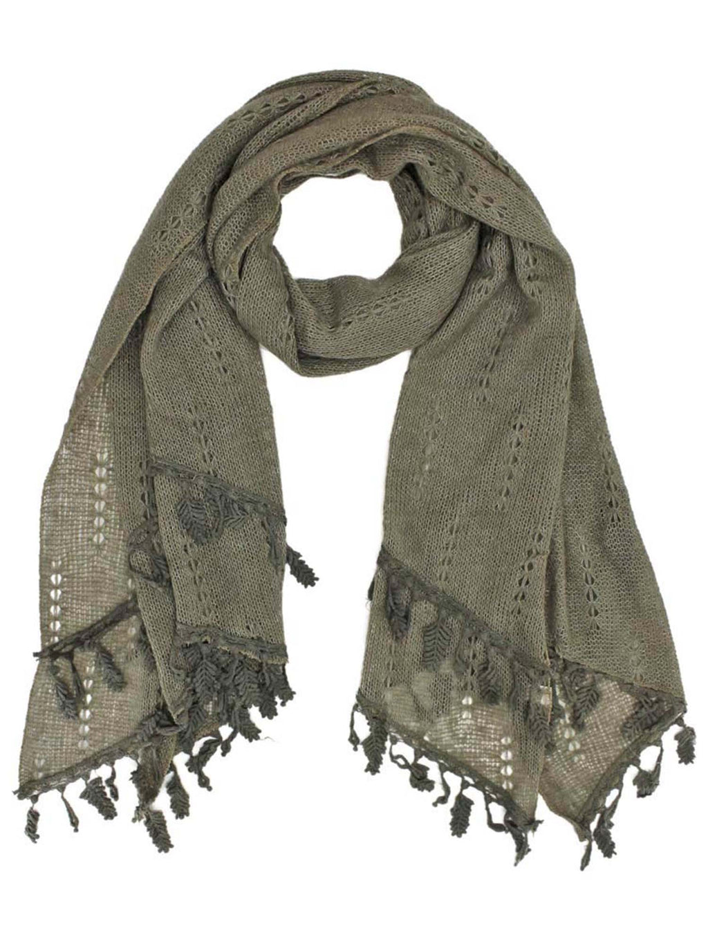 Taupe Thin Knit Scarf Shawl W/ Dangling Leaf Fringe