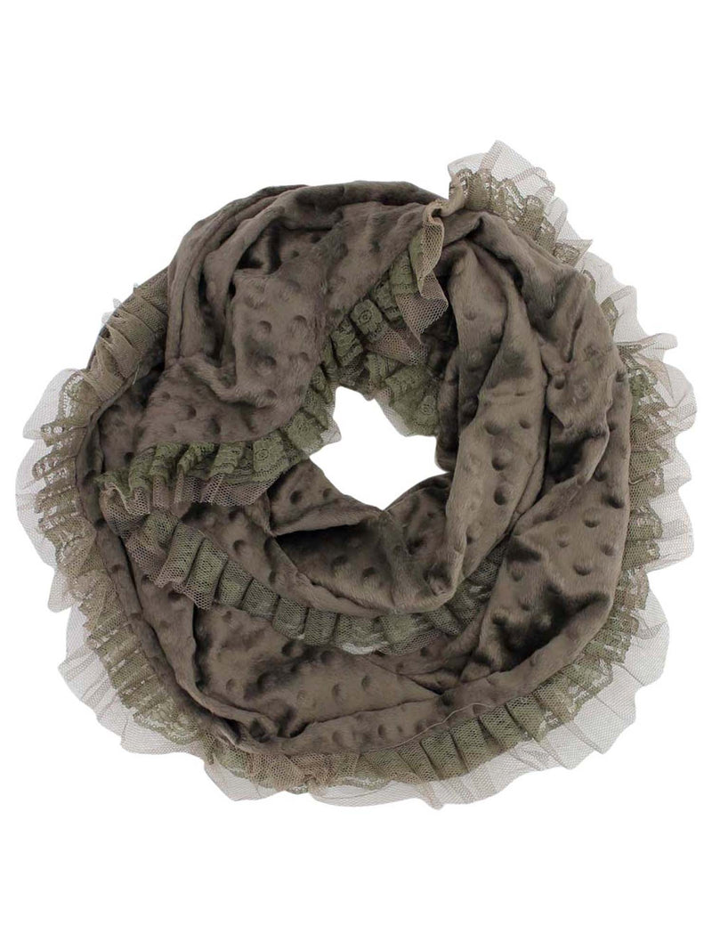 Velour Infinity Scarf With Lace Trim