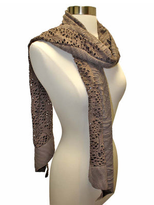 Taupe Unique Textured Oblong Scarf