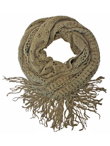 Taupe Long Crochet Knit Winter Infinity Scarf