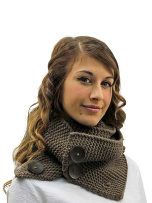 Knit Neck Warmer Winter Scarf With Button