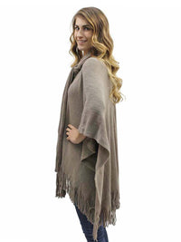 Two-Tone Fringed Shawl With Attached Scarf