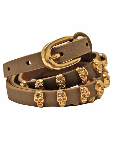 Skinny Golden Skull Studded Belt