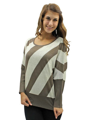 Diagonal Stripe Long Dolman Sleeve Sweater
