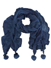 Ruffled Knit Oblong Scarf With Pom Poms