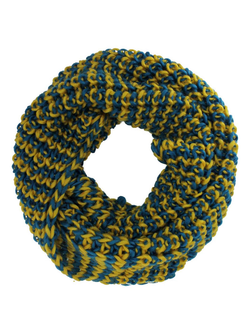 Two-Tone Chunky Knit Unisex Infinity Circle Scarf