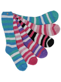 Striped Assorted 6 Pack Knee High Fuzzy Socks